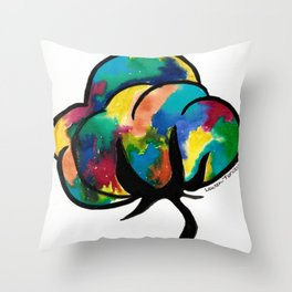 Colorful Cotton Boll Throw Pillow