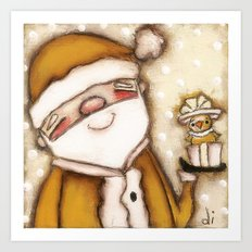 Yellow Santa - by Diane Duda Art Print