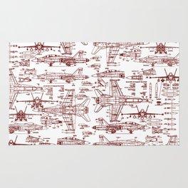 F-18 Blueprints // Red Ink Rug