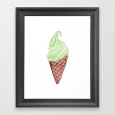 Watercolour Illustrated Ice Cream - Lime & Lemonade Framed Art Print