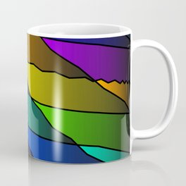 Slanting rainbow lines and rhombuses on violet with intersection of glare. Coffee Mug