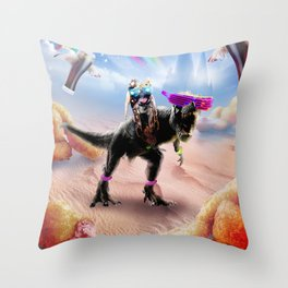 Pug Riding Dinosaur With Chicken Nuggets And Cola Throw Pillow