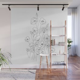 Poppy Flowers Line Art Wall Mural