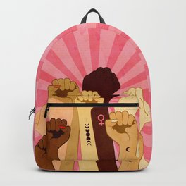 Female hands with fist raised up, retro style illustration Backpack