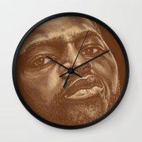 chad wys Wall Clocks featuring round 8..chad dawson by noblackcolor