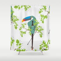 violin Shower Curtains featuring Violin Toucan by Djuliansjah