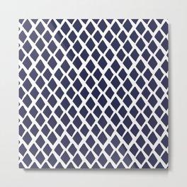 Rhombus Blue And White Metal Print