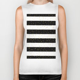 Black white gold faux glitter stripes polka dots  Biker Tank