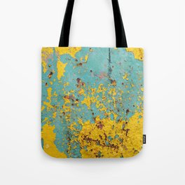yellow and blue worn paint and rust texture Tote Bag