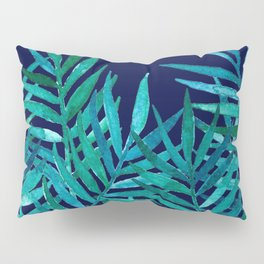 Watercolor Palm Leaves on Navy Pillow Sham