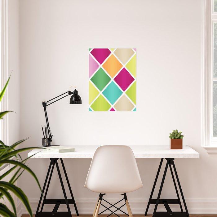 modern diamond geometric pattern design pink orange green blue