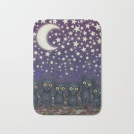 black cats, stars, & moon Bath Mat