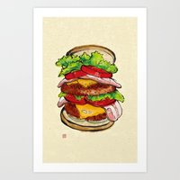 hamburger Art Prints featuring Hamburger by aibo