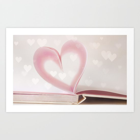 Valentine Pastel Bokeh Heart  Art Print