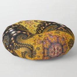 Golden dragon spirals and circles, fractal art Floor Pillow