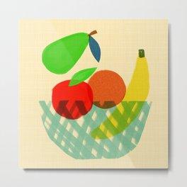 Fruit bowl Kitchen art - Mid Century modern food art Metal Print