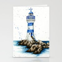 lighthouse Stationery Cards featuring Lighthouse by Priscilla George