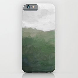 Green Grass Hills Nature Pasture Gray Sky Clouds Abstract Nature Farmhouse Painting Art Print Wall Decor  iPhone Case