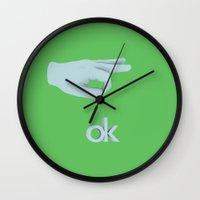 kim sy ok Wall Clocks featuring ok by Kyle Engman