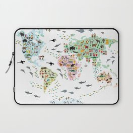 Cartoon animal world map for children and kids, Animals from all over the world Laptop Sleeve