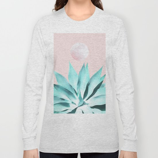Stellar Agave and Full Moon - pastel aqua and pink by dominiquevari