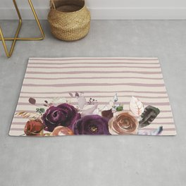 Artistic hand painted burgundy lilac bohemian floral stripes Rug