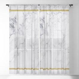 White Marble Gold Frame Sheer Curtain