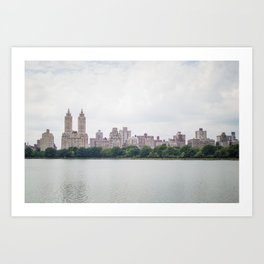 Monochromatic - New York City Central Park, Architecture Landscape, Cloudy City Skyline Photography Art Print