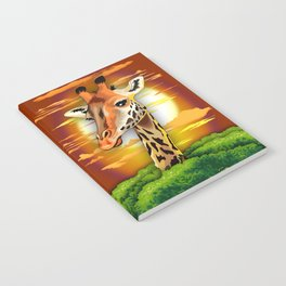 Giraffe on Wild African Savanna Sunset Notebook
