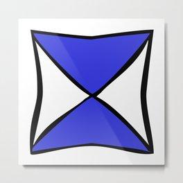 Blue Black X Metal Print