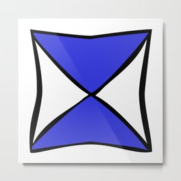 Blue Black X Metal Print