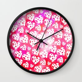 Pink Watercolor Heart Pattern Wall Clock