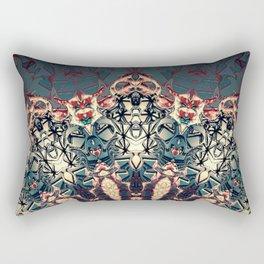 Teal Beige Textured Half Mandala Rectangular Pillow