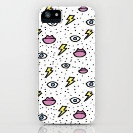 Ojos, labios y rayitos iPhone Case