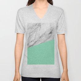 Carrara Marble and Sea Color Unisex V-Neck