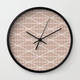 Light terracotta crossed lines pattern Wall Clock