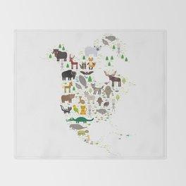 Map of North America with Animals bison bat manatee fox elk horse wolf partridge seal Polar bear Throw Blanket