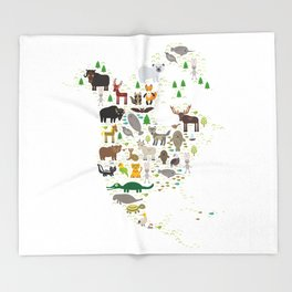 Map of North America with Animals bison bat manatee fox elk horse wolf partridge seal Polar bear Throw Blanket