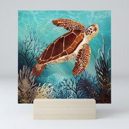 Metallic Sea Turtle Mini Art Print