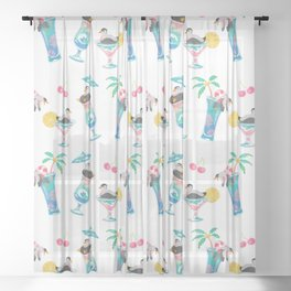 Summer cocktails Sheer Curtain