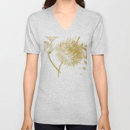 modern gold illustration of a flower. hand drawn Unisex V-Neck