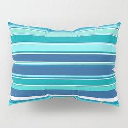 Stripes (Parallel Lines) - White Blue Pillow Sham