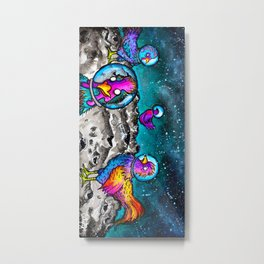 Space Chickens Metal Print