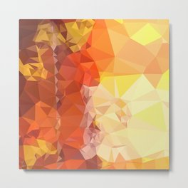 Deep Saffron Orange Abstract Low Polygon Background Metal Print