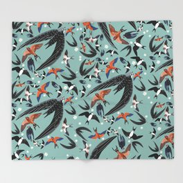Swallows Martins and Swift pattern Turquoise Throw Blanket