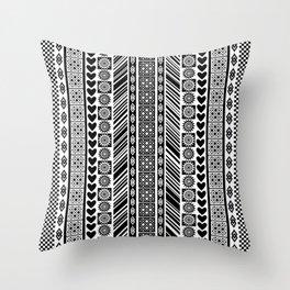Black and White Adinkra Symbol African Print Pattern Throw Pillow