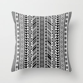 Black and White Adinkra Symbol African Print Pattern Throw Pillow