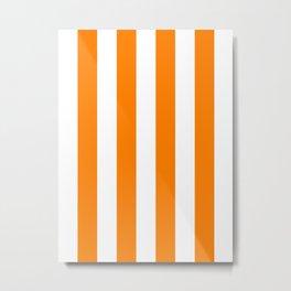 Vertical Stripes - White and Orange Metal Print