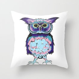 Small Scrappy Owl Throw Pillow