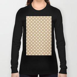 Small Polka Dots - White on Tan Brown Long Sleeve T-shirt